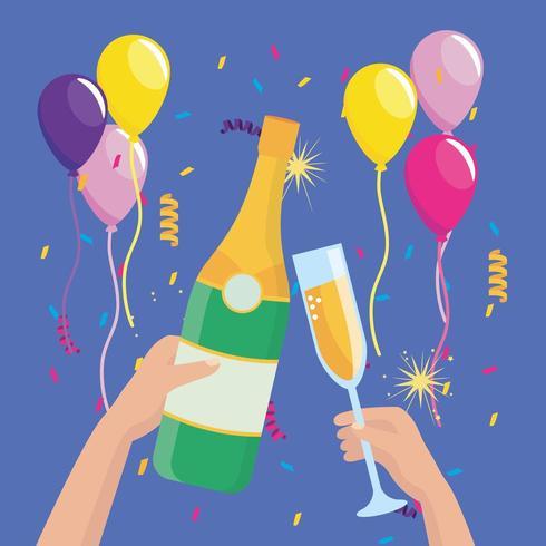 manos con botella de champagne y copa con globos vector