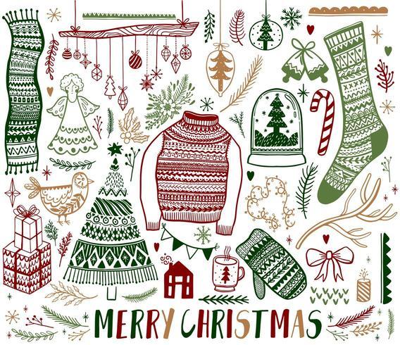 Conjunto de elementos de diseño dibujado a mano de Navidad vector