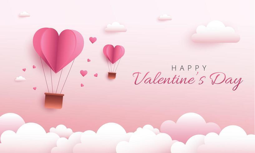 Feliz diseño de San Valentín con globo de corazón de aire caliente. Arte en papel y estilo artesanal digital vector