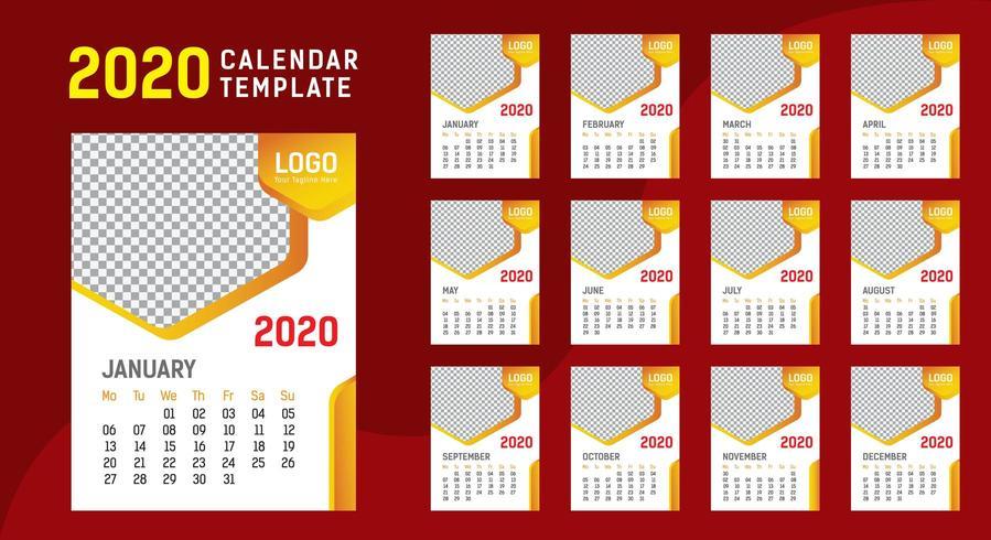 Modello di calendario 2020 da parete vettore