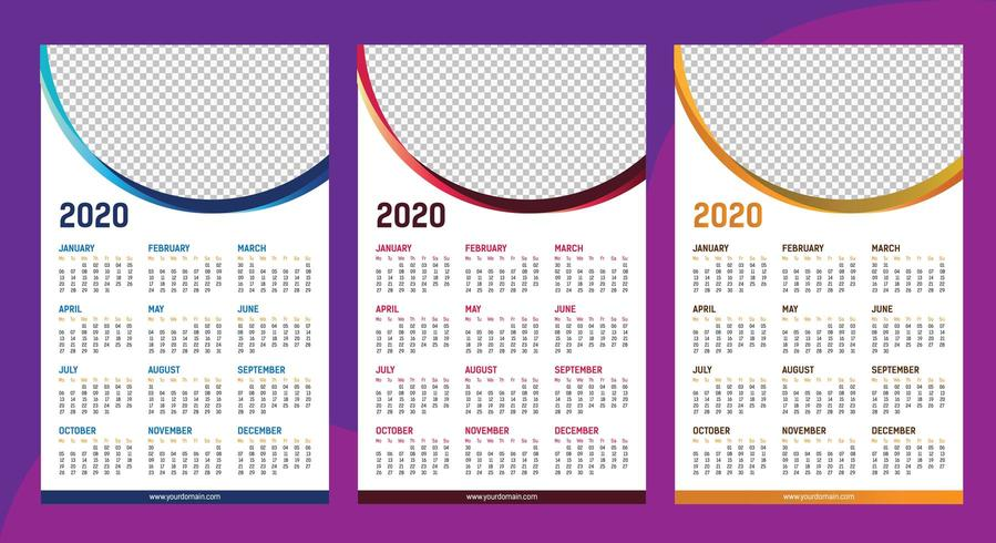 One page calendar 2020 template