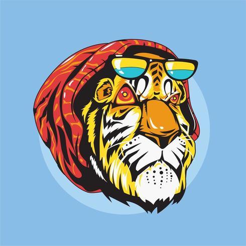 Ilustración de vector de tigre animal gángster