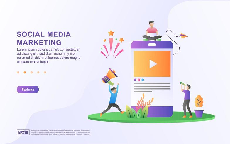 Conceito de ilustração de marketing de mídia social. vetor