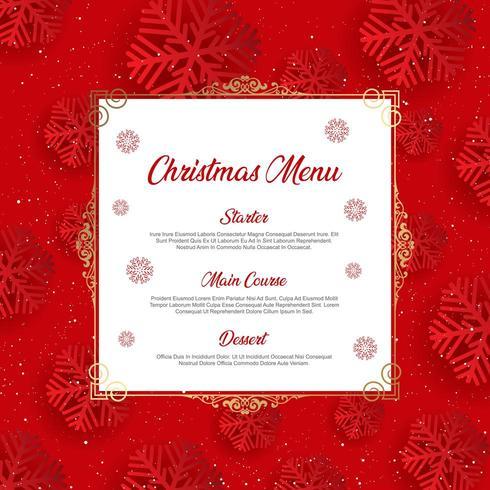 Menu de Noël avec motif flocon vecteur