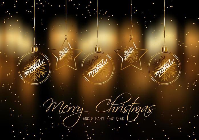 Sfondo di Natale con palline d'oro appesi