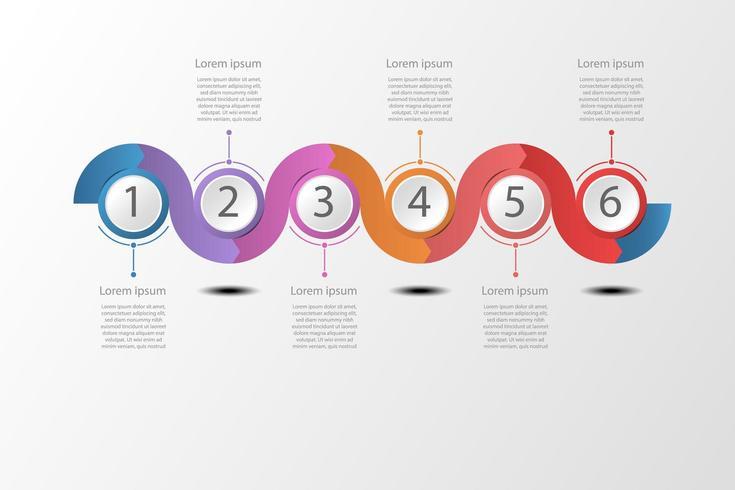 Ilustração de infográfico timeline ondulado conceito. vetor