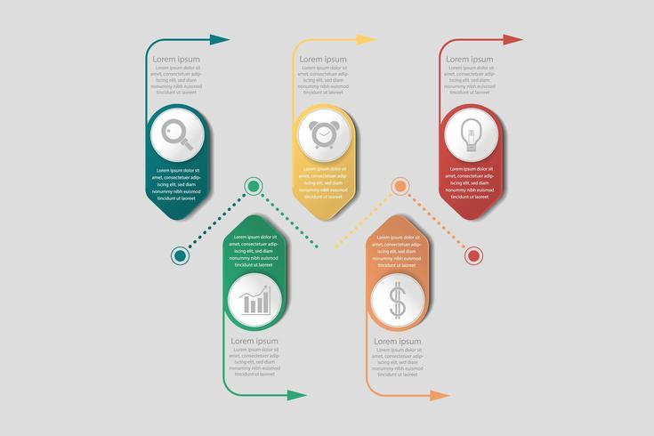 Infografía de banner de negocios con flechas e iconos