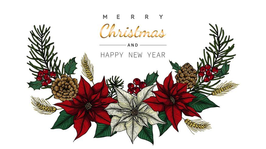 Merry Christmas and New Year flower and leaf border drawing