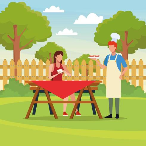 Family barbecue picnic vector