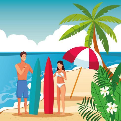 Casal de verão nos desenhos animados da praia