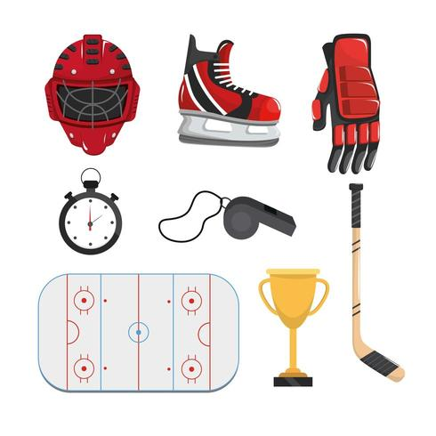 set professional equipment to play hockey vector