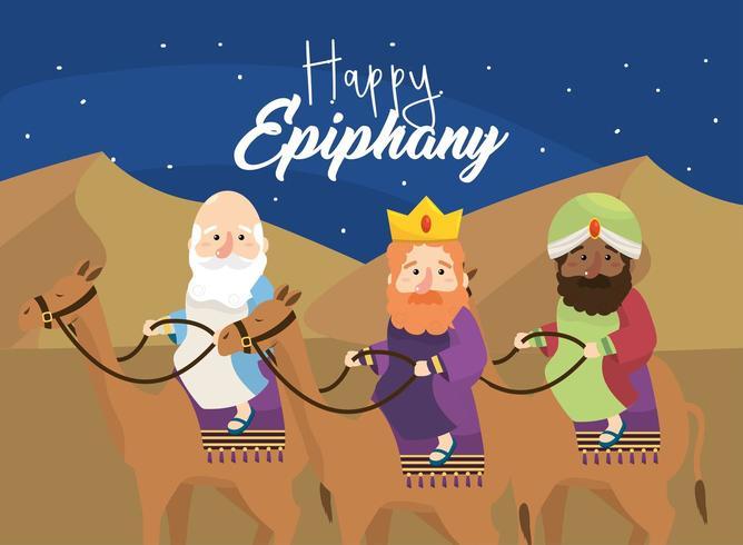 rois magiciens montent des chameaux pour une épiphanie heureuse vecteur