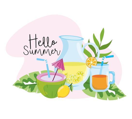 coco con limonada y jugo de naranja en verano vector