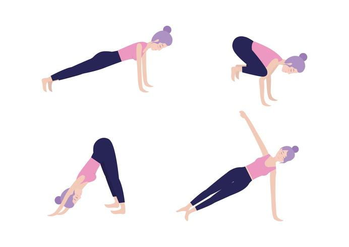 set healthy woman doing exercise vector