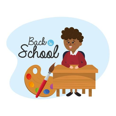boy student in the desk with palette and paintbrush vector