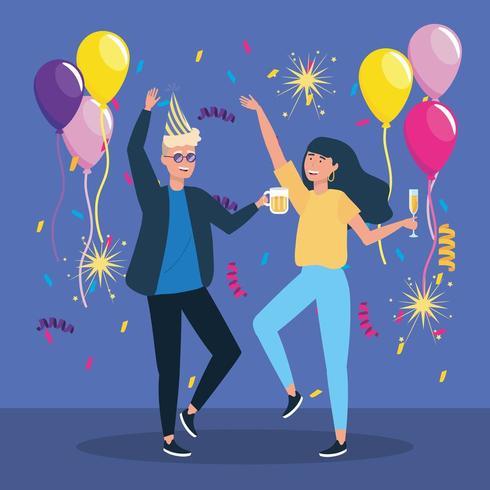hombre y mujer bailando con decoración de confeti vector