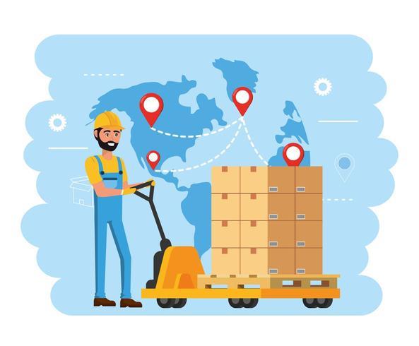 repartidor y carros con servicio de distribución de paquetes