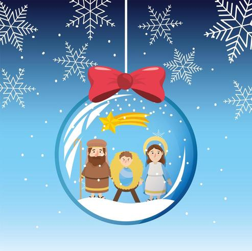 snowflakes mary and joseph with jesus inside crystal ball vector