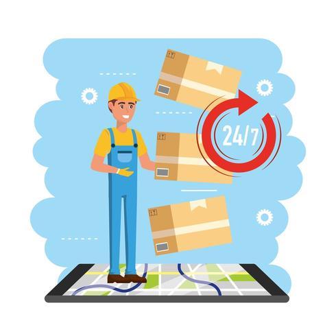 repartidor con servicio de paquetes de cajas vector