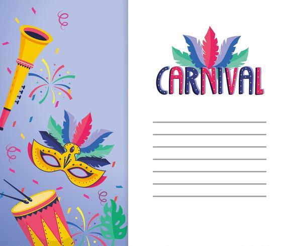 Carnaval-kaart met trompet en maskerdecoratie