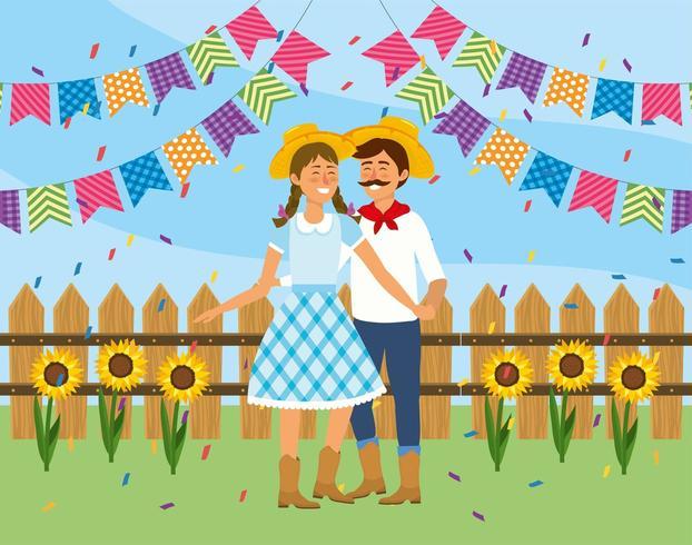 casal mulher e homem dançando a festa junina vetor