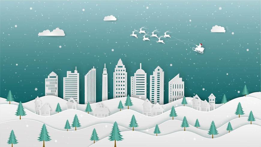 Frohe Weihnachten mit Santa Claus, die in der Winternacht zur Stadt kommt