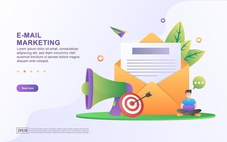 O conceito de marketing e mensagem de email com email envia mensagem e sinal de notificação de mensagem. vetor