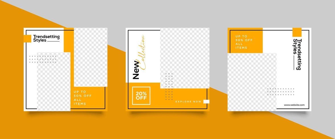 Conjunto de plantillas de publicación de redes sociales de Orange vector
