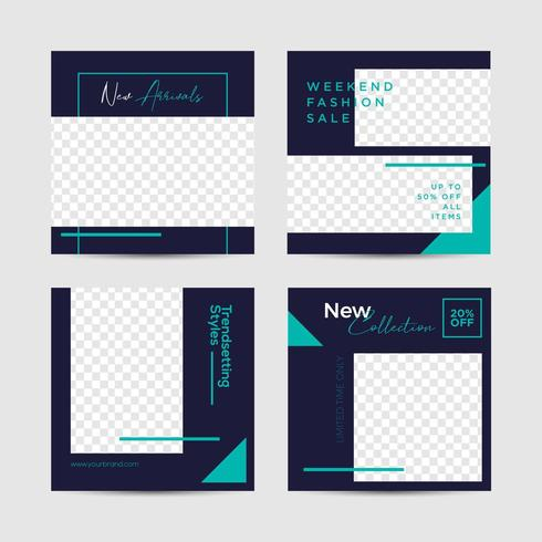 Navy and Teal Social media post template vector