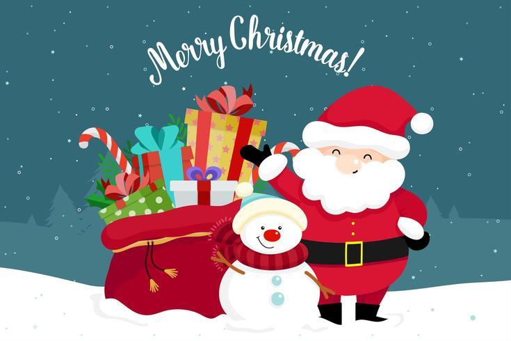 Christmas Greeting Card with Christmas Santa Claus and Bag