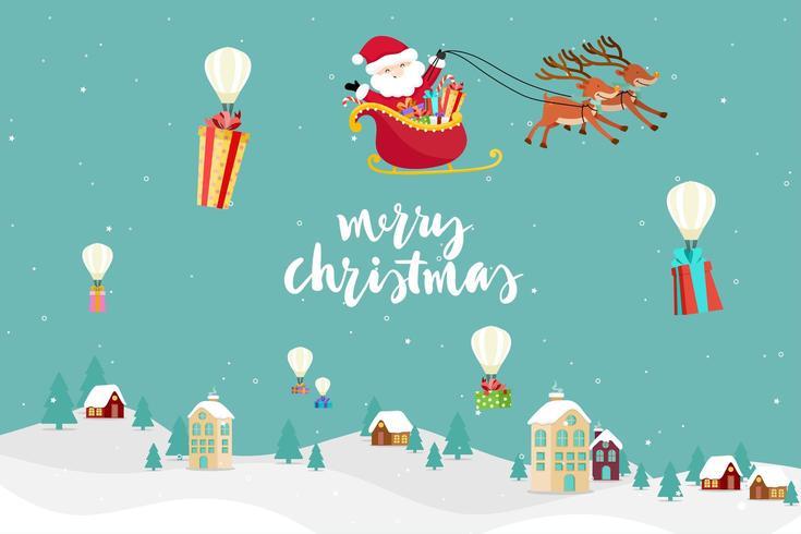 Christmas Greeting Card with Santa Flying