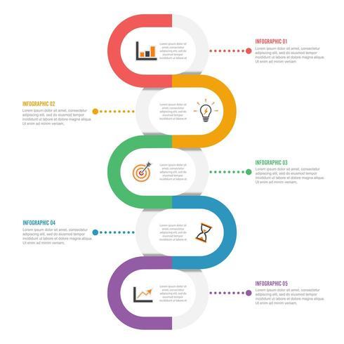 Modèle Timeline Infographic coloré horizontalement vecteur