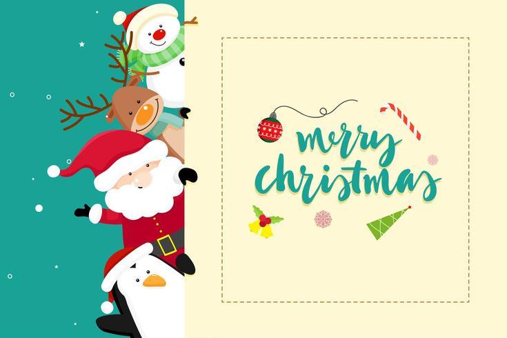 Message de carte de voeux de Noël avec le père Noël vecteur