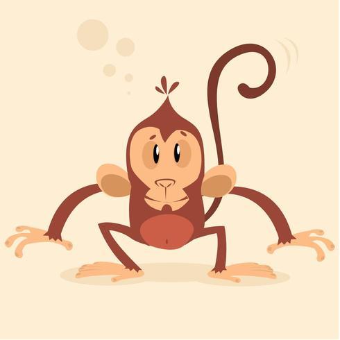 Mono chimpancé de dibujos animados lindo vector