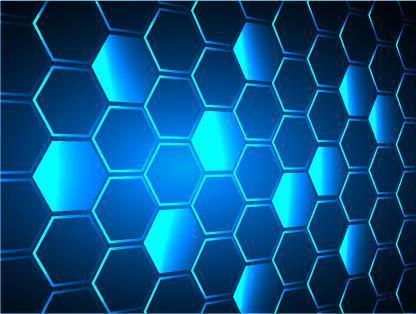 Fondo de vector de píxel de rejilla de panal de hexágono azul