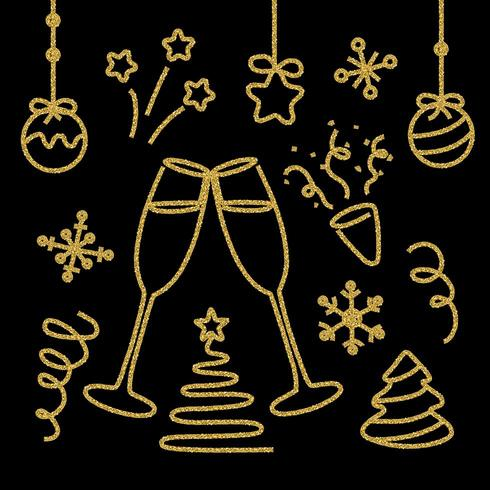 Conjunto de elementos de ano novo de glitter dourados vetor