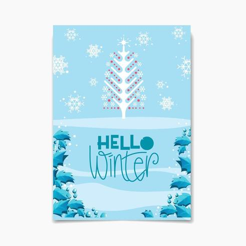 Hello Winter design with Tree an Snowflakes vector