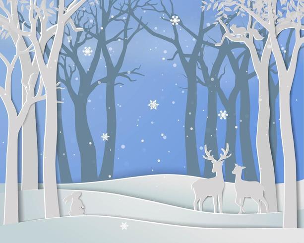 Gelukkig nieuw jaar en Merry Christmas met hertenfamilie in wintertijd