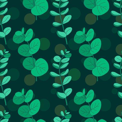 Modèle sans couture vintage dessiné main eucalyptus