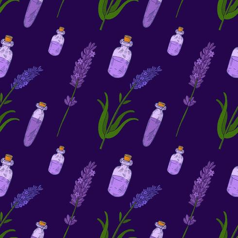 Lavender Hand drawn vintage seamless pattern