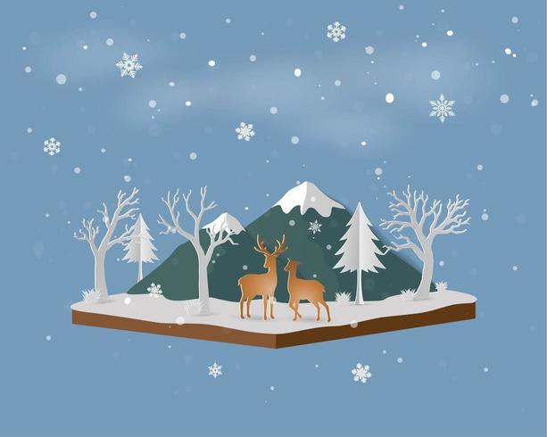 Isometrische Landschaft mit Rotwildfamilie im Winterschnee und -berg