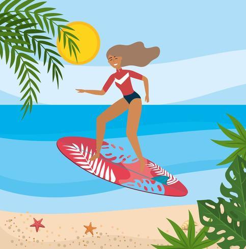 Mujer vestida con traje de baño y surf con plantas de hojas vector