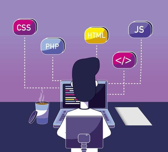 Programador de software de dibujos animados vector