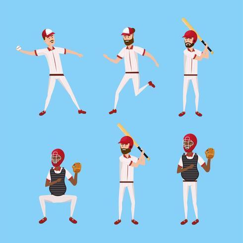Establecer jugador de béisbol con uniforme profesional y equipo vector