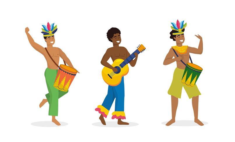 set men dancers and musician with drum and guitar vector