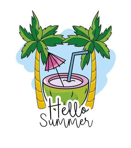 coco con palmeras tropicales para vacaciones de verano vector