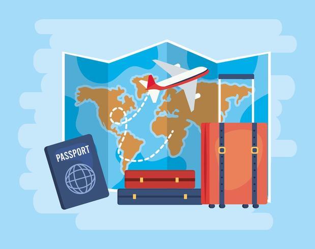 mapa global con avión y equipaje de viaje vector