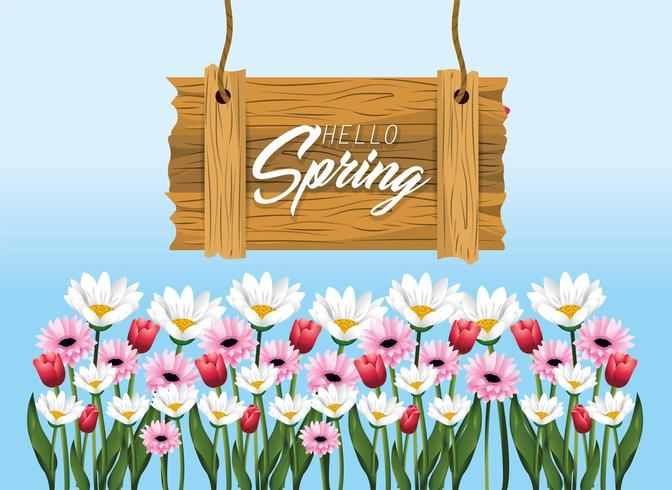 spring wood emblem with roses and flowers vector