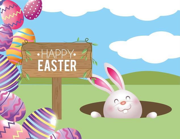 conejo feliz con huevos de pascua y emblema de madera vector