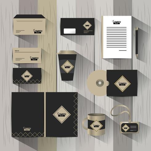 Conjunto de modelo estacionário de empresa de negócios com documentos